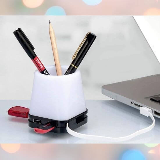 Best Gadgets under 500 Rs - 4 in 1 USB powered Lamp Pen Stand
