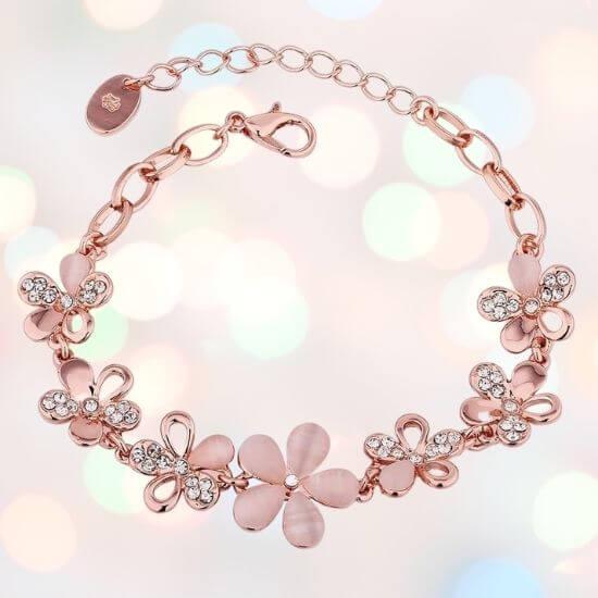 Gifts for Girls - Rose Gold Stylish Bracelet Earrings Combo