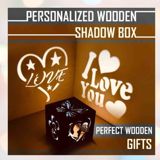 Gifts for Men - Customised Wooden LED Shadow Box